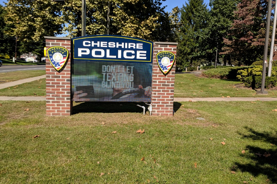 File photo – The sign outside the Cheshire Police Department.