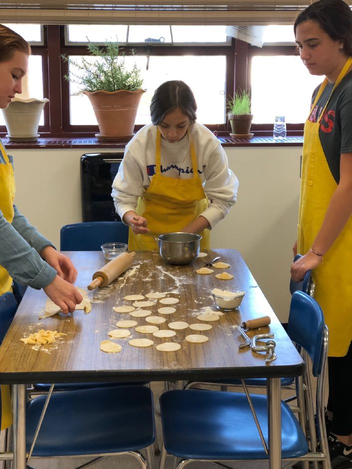 CHS students work together on a baking project. Photo courtesy of Eileen Wildermann.