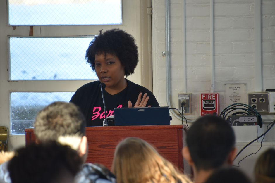 Courtesy of Cheshire Academy – Lytasha Blackwell speaking to Cheshire Academy students.