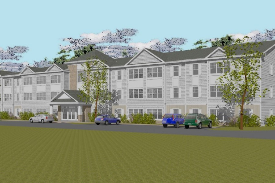 An architectural rendering of the proposed Lakeside of Cheshire proposed at 50 Hazel Drive, the now vacant site of a former nursing home on Hazel Drive. Developers are proposing a two-building 114-unit apartment complex that includes 25% moderate income housing.