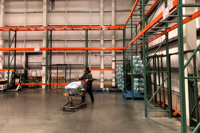 AP Photo/Seth Wenig – Empty shelves of a Costco in New Jersey shows what many grocers are facing as a result of bulk shopping in the face of the coronavirus.
