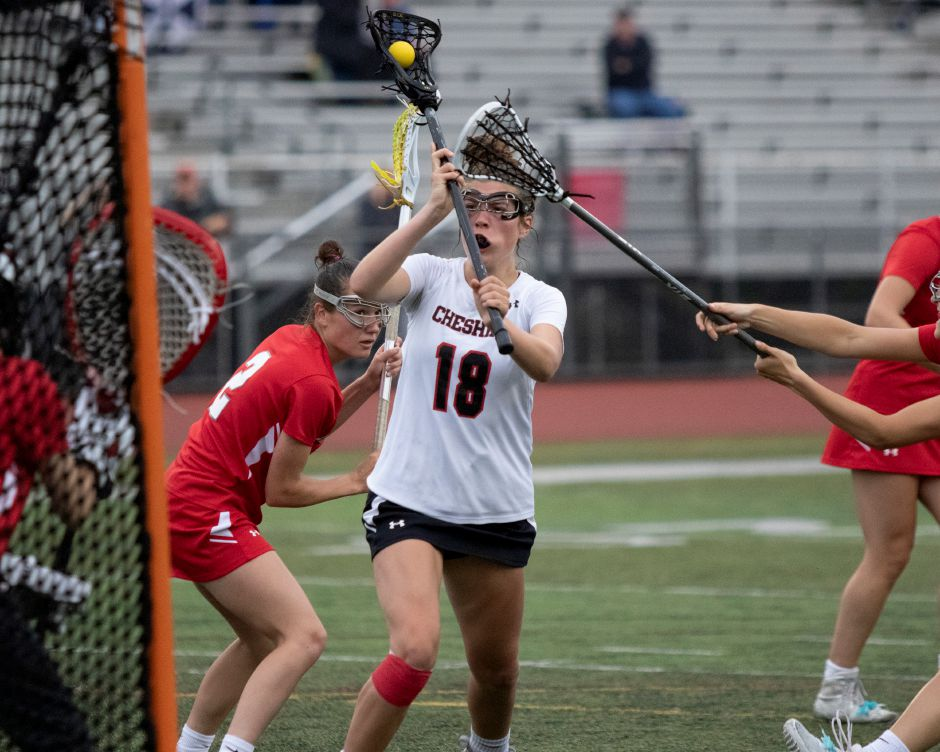 Coming into her senior season, Raegan Bailey has tallied 83 goals and 33 assists for CHS girls' lacrosse. Photo taken by James Brandolini/Cheshire Herald.