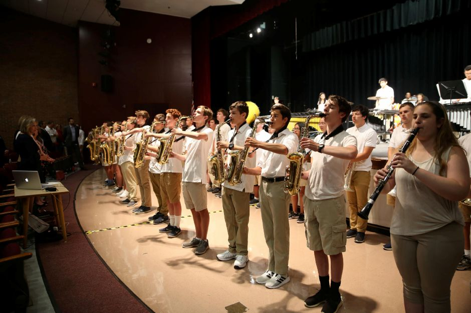 Tracey Harrington/Cheshire Herald – The Cheshire High School Marching Ram Band at this year's Convocation Ceremony.