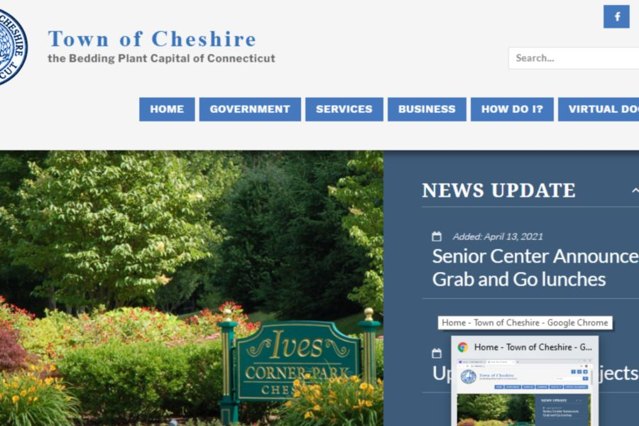 Screenshot of the new Cheshire Town website.