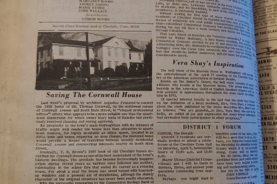 File photos - In 1975, town residents discussed ways to preserve historic buildings, including the Cornwall House, current home of The Cheshire Herald and Cheshire Chamber of Commerce, among other local businesses.