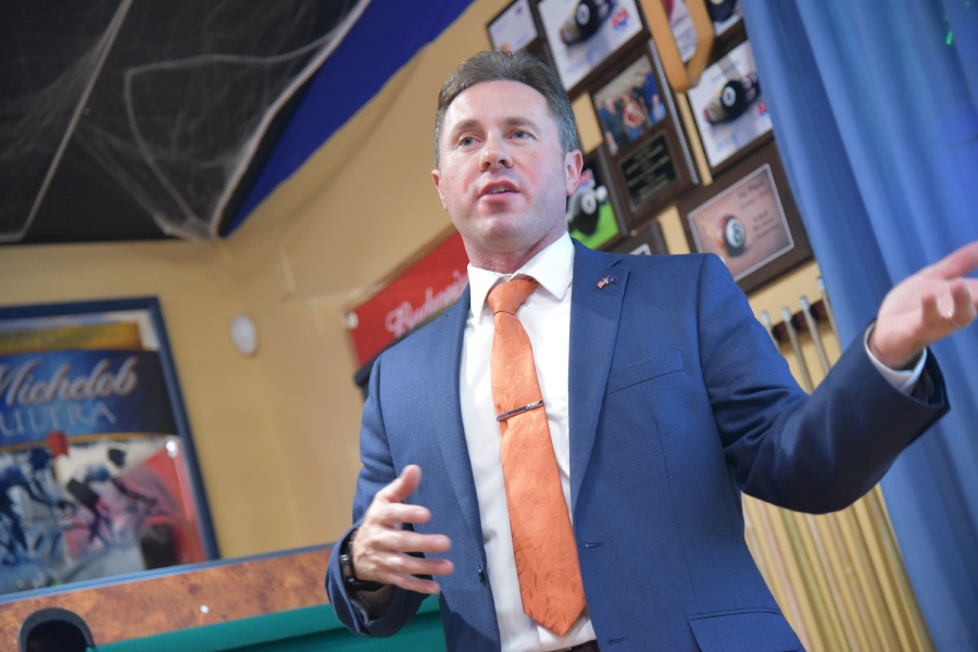 Matt Jalowiec makes a victory speech after winning the seat for Judge of Probate in Cheshire-Southington, while at Friends Cafe in Southington on Tuesday, Nov. 6, 2018. | Bailey Wright, Record-Journal