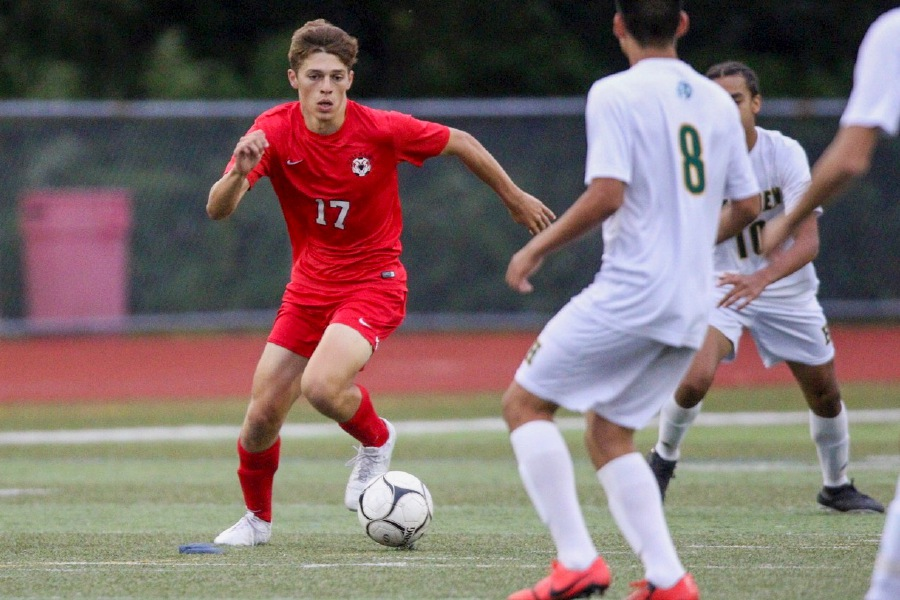 Jack Loura scored twice for his soccer team on Opening Night. Photo taken by James Brandolini/Cheshire Herald.