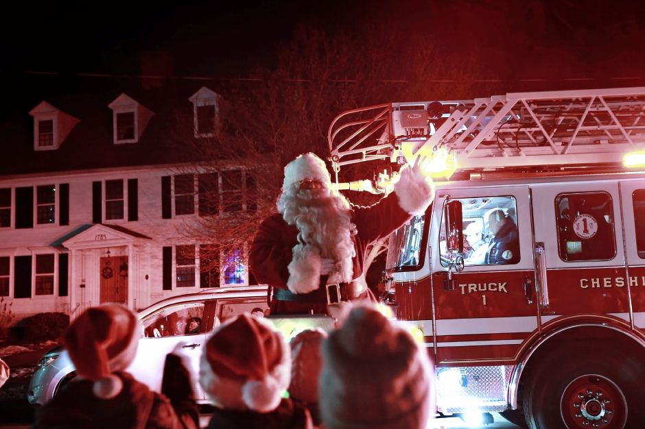 Tracey Harrington/Cheshire Herald – What year would be complete without a visit from Santa? The jolly old man showed up at the annual Tree Lighting event in front of First Congregational Church in early December.