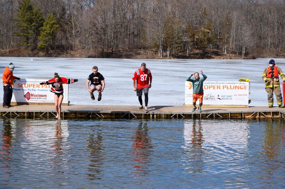 Local residents accepted the Sloper Plunge challenge in Southington. Photo courtesy of Southington-Cheshire Community YMCA.
