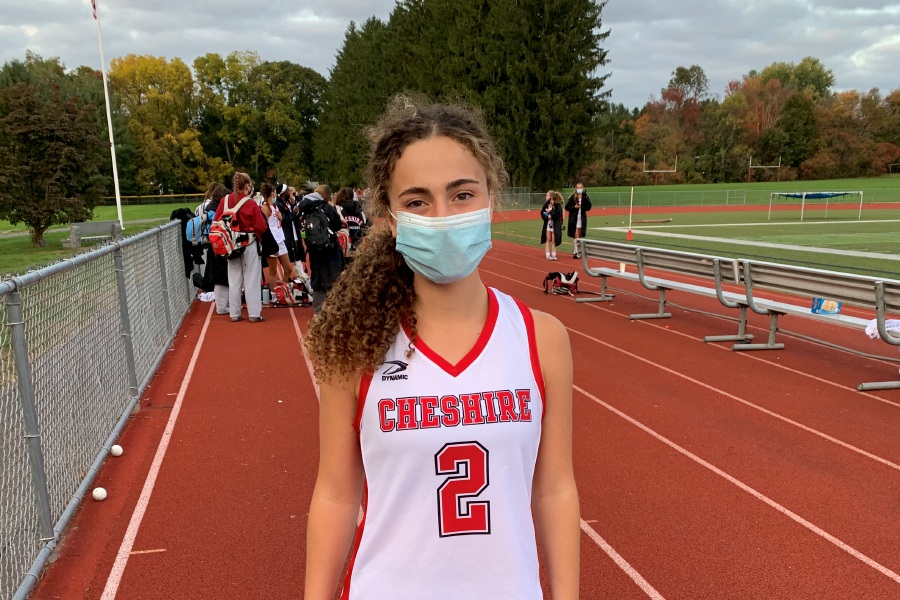 For CHS field hockey, Sophie Vagts exploded offensively to earn a hat trick in the fourth quarter at Hamden. Photo taken by Greg Lederer/Cheshire Herald.
