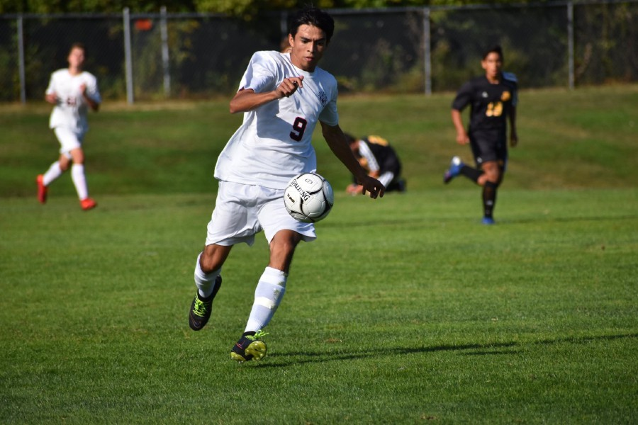 Denys Fuentes netted both Cheshire goals on Tuesday at Amity. Photo courtesy of Ellen Loura.