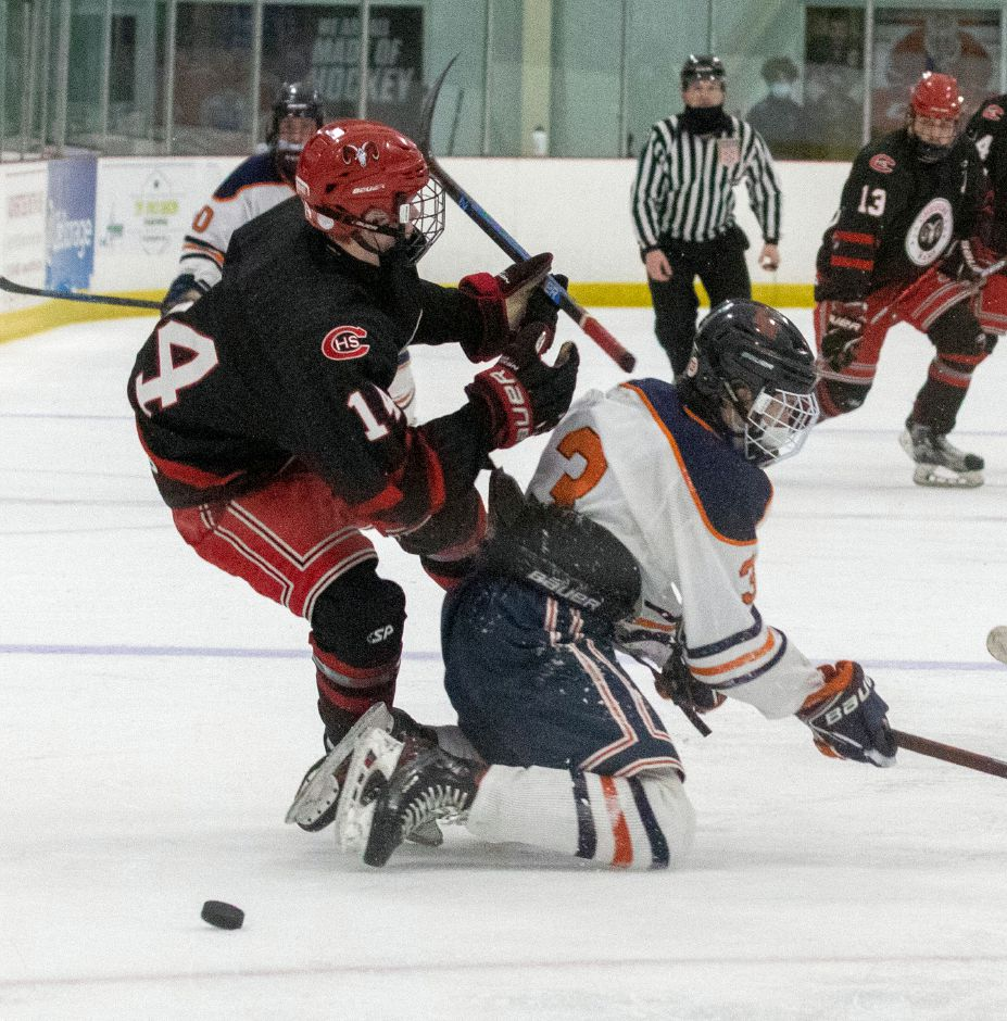 Lyman Hall sophomore Peyton Durant collides with Cheshire senior captain Niklas Vasiljevs in the SCC/SWC Division II semifinals. Photo taken by Aaron Flaum/Record-Journal.