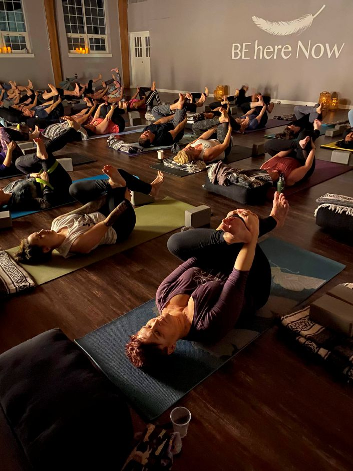 Submitted photo by Kimie Allen. Cheshire residents participate in yoga to raise fund for the Australian bushfires