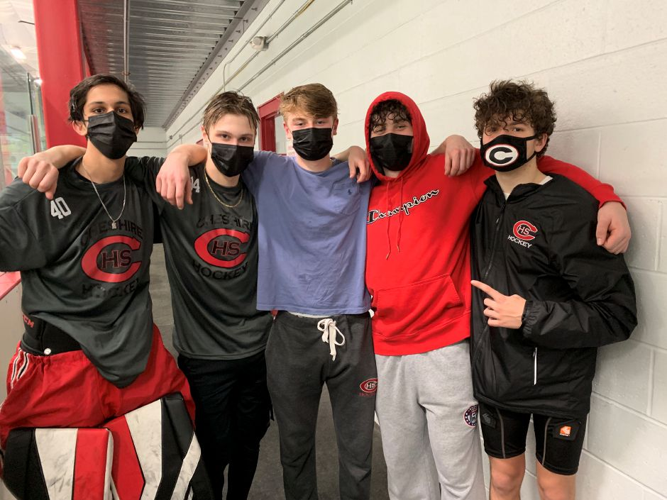 From left, junior Amaan Chaudhry, senior captain Niklas Vasiljevs, senior assistant captains Thor Novicelli and Aidan Gaudet, and sophomore Will Gaudet contributed to Rams ice hockey winning 4-3 over Lyman Hall. Photo taken by Greg Lederer/Cheshire Herald.