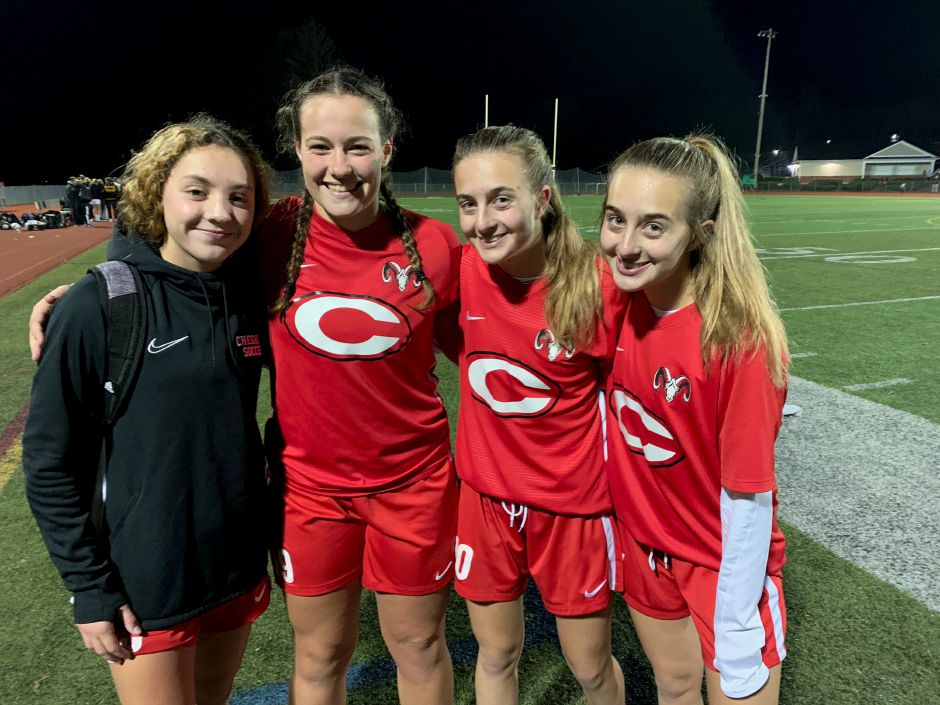 From left, freshman Gabby Tirado, senior tri-captain Marisa Brough, and sophomore twin sisters Ariana and Briana Geloso helped CHS girls