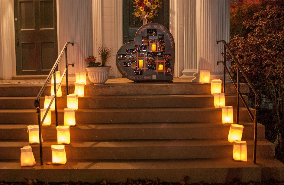 Al Valerio/Cheshire Herald - The streets (and staircases) of Cheshire were once again lit in November, as the annual Lights of Hope event was held. Residents placed luminaries all around, including leading to the doorway at First Congregational Church.