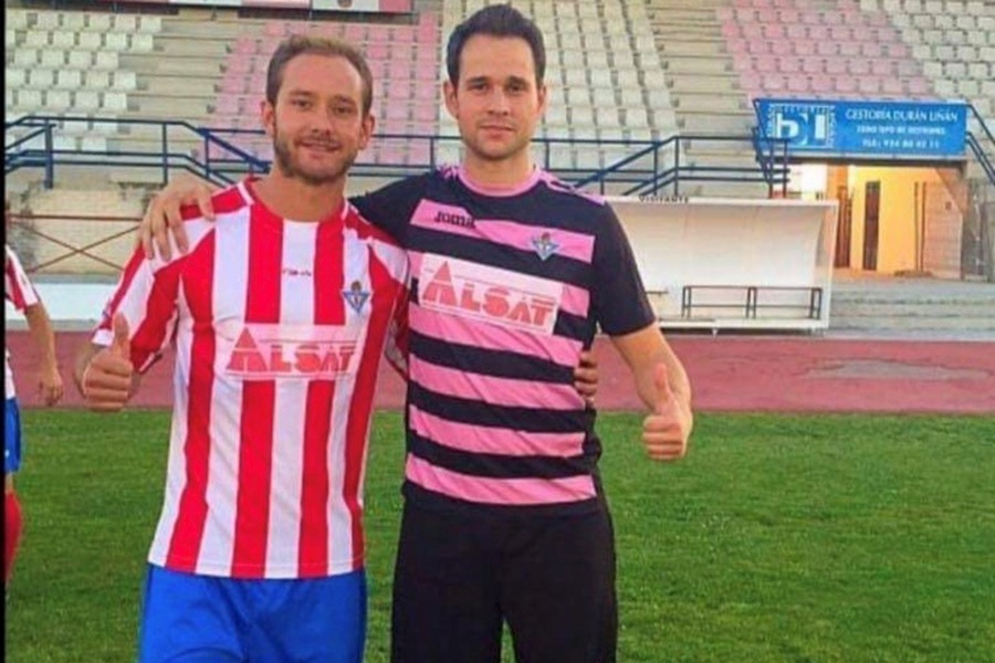 In Spain, Miguel Rodriguez Lapman (left) is balancing his soccer career with being an agent, teacher, and translator.