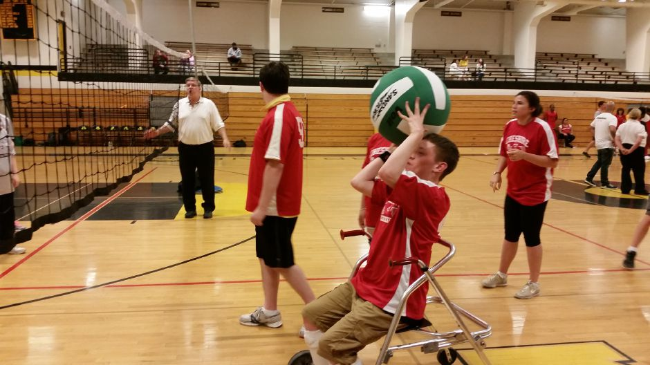 Submitted by Matt Guida.  CHS Unified Sports players shown during a volleyball game in 2019.