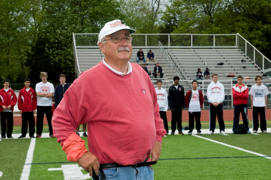 On May 8, 2012, CHS honored former track and field coach Ron McReavy in his retirement from being the event starter at home meets. File photo.