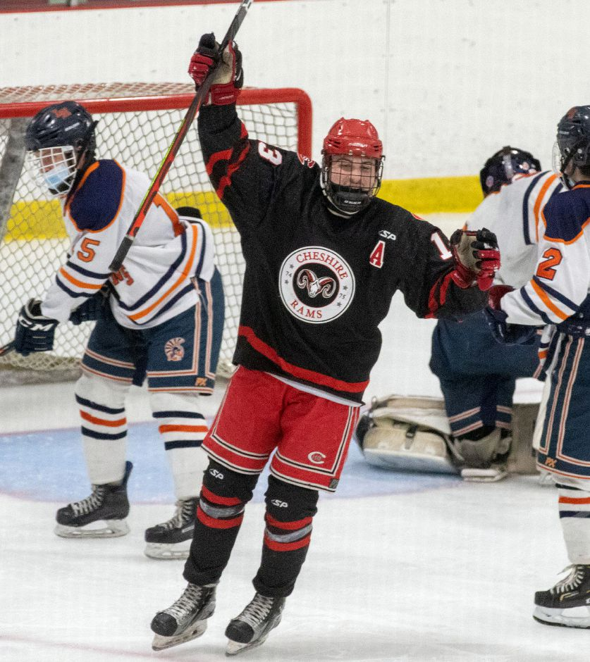 In the second period against Lyman Hall, Cheshire senior assistant captain Aidan Gaudet celebrates after assisting on second goal from freshman Evan Vasiljevs against Lyman Hall. Photo taken by Aaron Flaum/Record-Journal.
