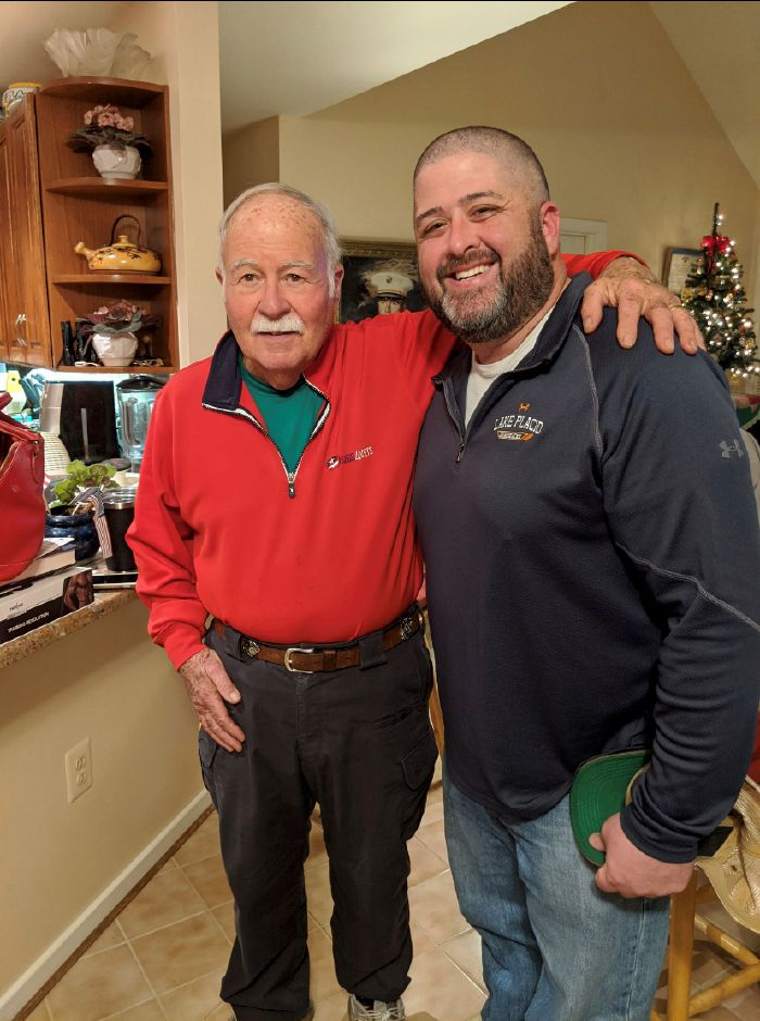 Photo courtesy of Hayley Falk - Jeff Falk shown with Cheshire native Harvey Barnum, a recipient of the Medal of Honor.