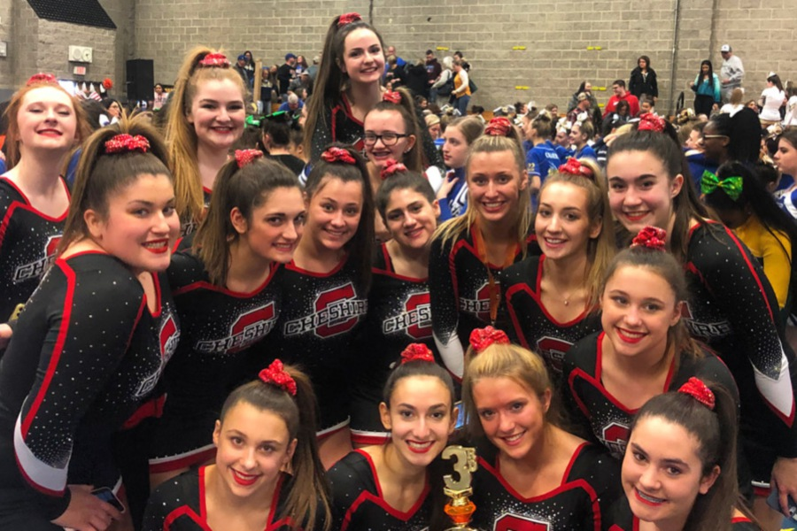 Last Saturday, CHS cheerleaders finished third in their division at Woodland. Photo courtesy of Head Coach Samantha Hill.