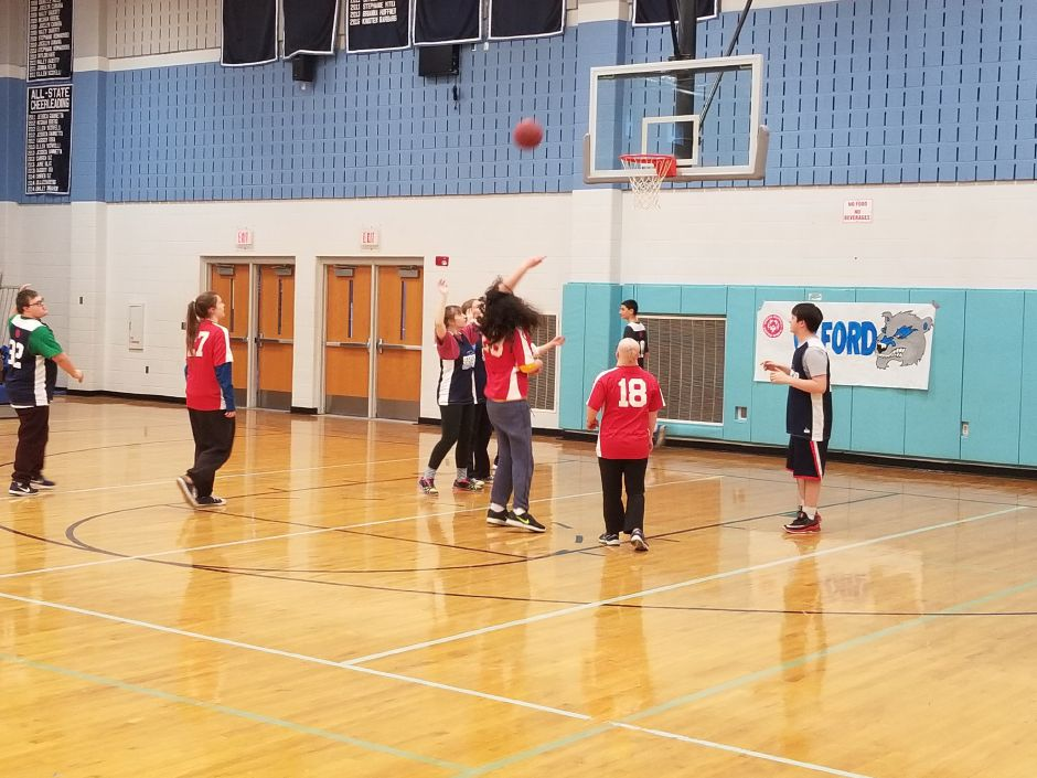 Submitted by Matt Guida. CHS Unified Sports players compete in a basketball game last year.