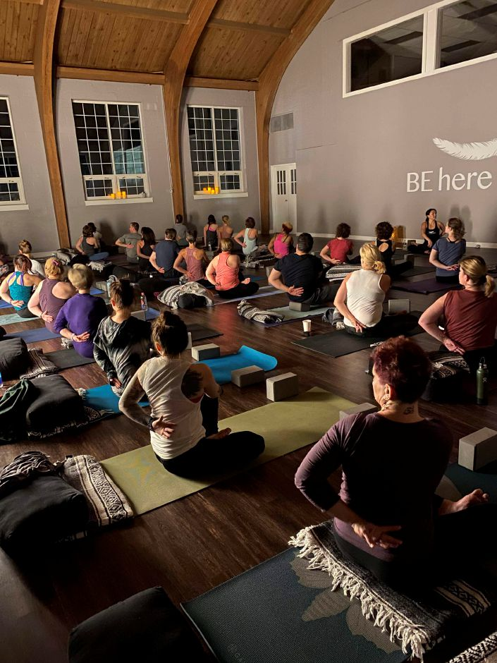 Submitted photo by Kimie Allan. Cheshire residents participate in yoga to raise money for the Australian Bushfires