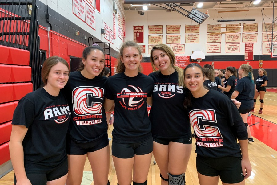 From left, co-captains Ari Perlini and Lindsey Abramson, Emma Watkinson, Julia Bartiet, and Colleen Brumleve have all returned for their senior year with CHS girls