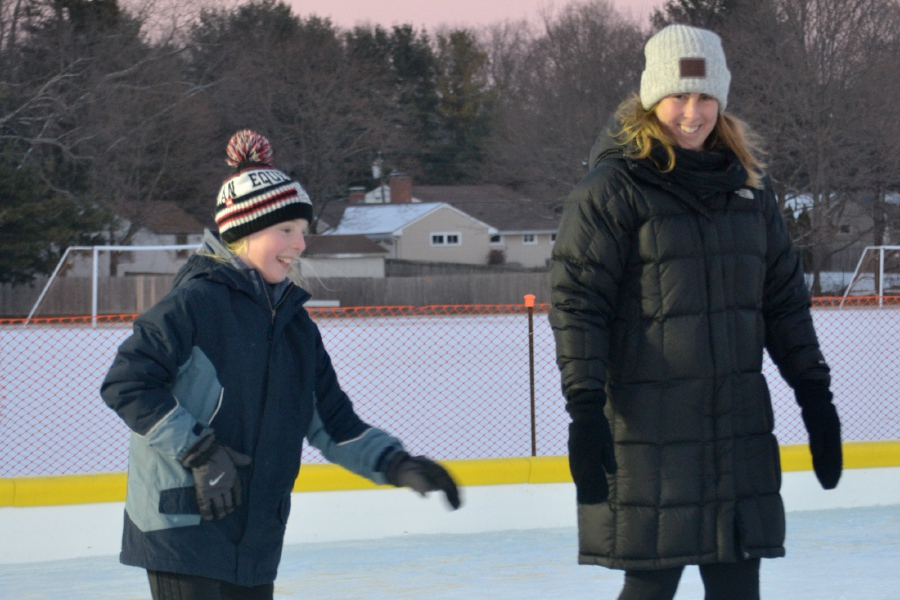 File photo – Kim (left) and Abby Beach enjoyed a skate on the Cheshire ice rink when it first opened in 2018.