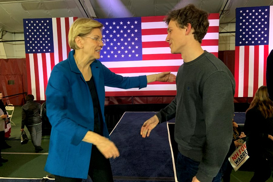 Photo courtesy of John Hangen – Cheshire's John Hangen had the chance to visit with Senator Elizabeth Warren (D-MA) ahead of the Feb. 11 New Hampshire primary.