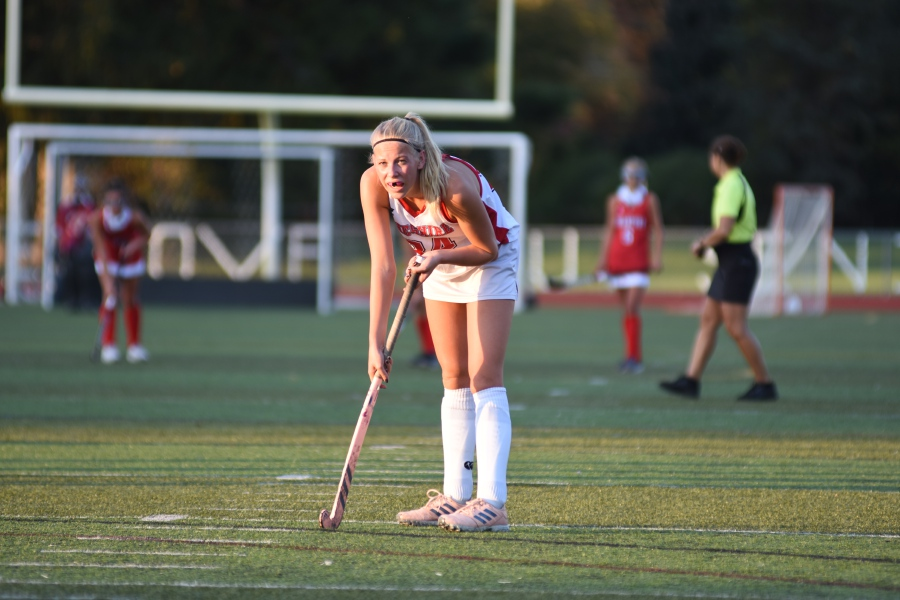 CHS junior field hockey player Emily Curtis focuses on the play in front of her. Photo courtesy of Mike Crowley.