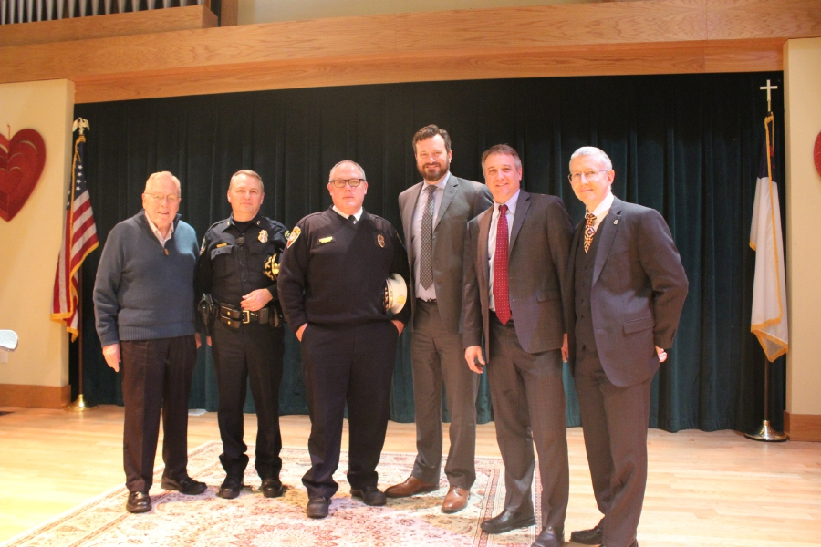 Mariah Melendez/Cheshire Herald – (from left) Elim Park Chaplain Wayne Detzler, Police Chief Neil Dryfe, Fire Chief Jack Casner, Cheshire Town Manager Sean Kimball, Elim Park CEO and President Brian Bedard, and Elim Park CFO Zell Gaston were all in attendance at the check presentation on Feb. 13.