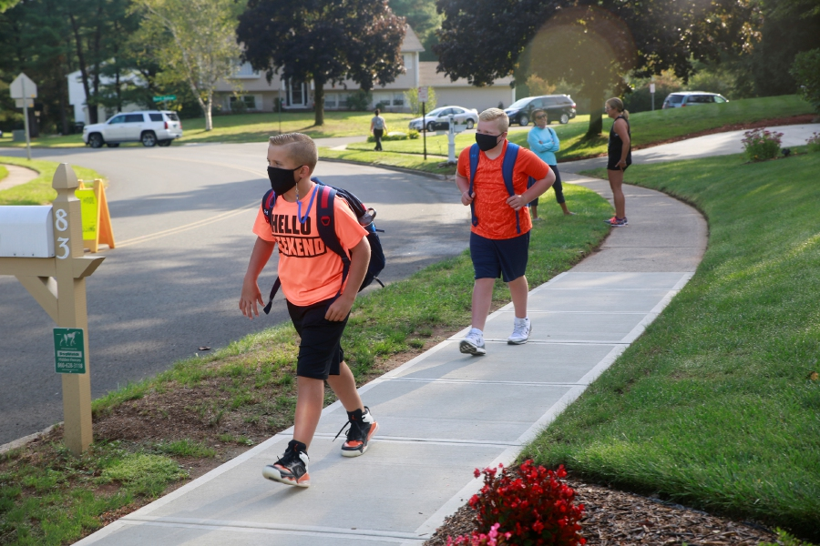 Tracey Harrington/Cheshire Herald - Highland School students and families returned to classes on Friday, Sept. 11, for the first time since March 13.