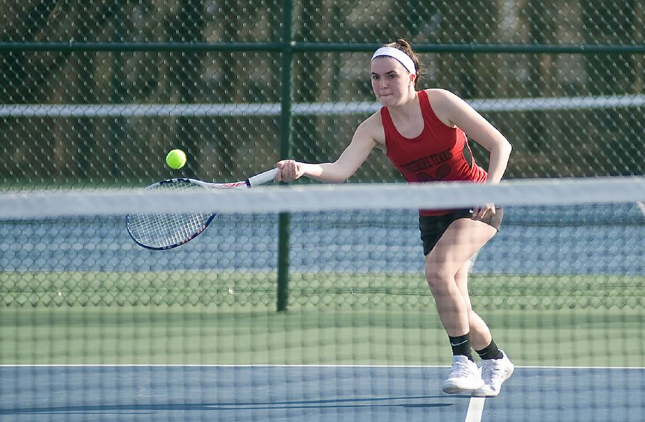 Olivia Santoro moved from doubles to singles last spring. Photo taken by Al Valerio/Cheshire Herald.